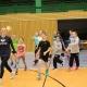 Projekt Volleyball macht Schule: Sophie Tauchert mit den Kindern auf Laufrunde . Wolfsgrube Suhl 11.02.2019
