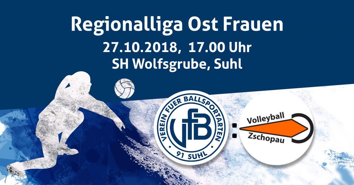 Spielankündigung Regionalliga Ost Frauen: VfB 91 Suhl 2 : VC Zschopau . 27.10.2018 (Bild: TW)