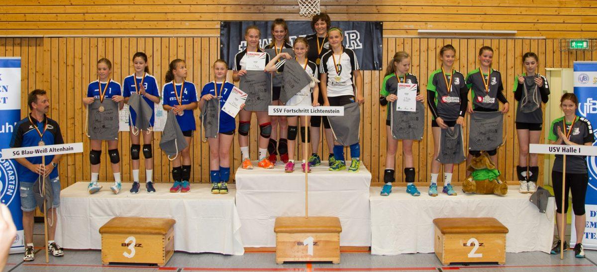 Siegerpodest der Mitteldeutschen Meisterschaft U12 2019 in der Wolfsgrube Suhl (Foto: Andreas Zorn, VfB Suhl)