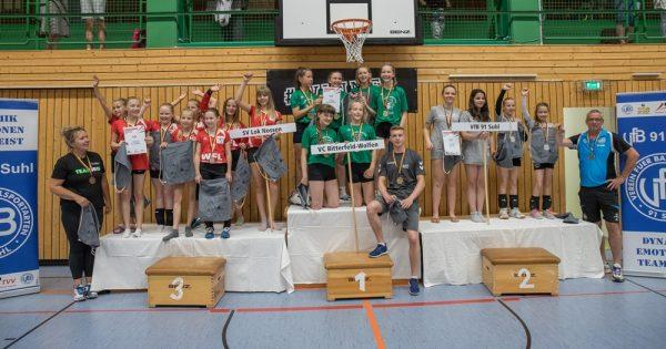 Siegerpodest der Mitteldeutschen Meisterschaft U13 2019 in der Wolfsgrube Suhl (Foto: Tim Hofmann, VfB Suhl)
